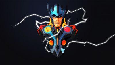 Thor, God of Thunder, Marvel Superheroes, Dark background
