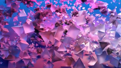 3D Shapes, 3D background, Gradient background, Pink, Frosty, Triangles