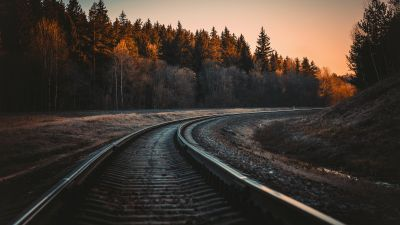 Railway track, Trees, Golden hour, Dusk, Curve, Outdoor, 5K
