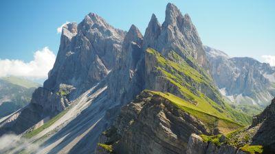 Val di Funes, Dolomites, Italy, Mountain Peaks, Landscape, Beautiful, Cliffs