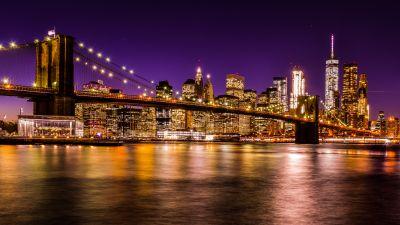 Brooklyn Bridge, New York City, Skyline, Cityscape, Night time, City lights, Waterfront, Reflection, Skyscrapers, Purple sky, Sunset, Long exposure, 5K