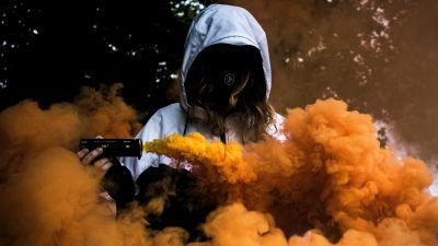 Person in Mask, Girl, Orange Smoke, Hoodie, Anonymous, Smoke Grenade, 5K