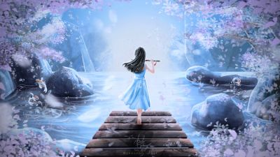 Girly, Dream, Girl playing flute, Surreal, Spring, Digital Art, Illustration, Digital paint