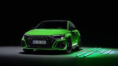 Audi RS 3 Sedan, Luxury Sedan, Black background, 5K, 8K, 2021