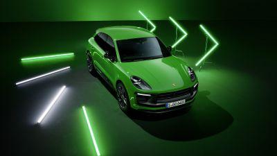 Porsche Macan GTS, Sport Package, 2021, Dark background, Neon, Green, 5K