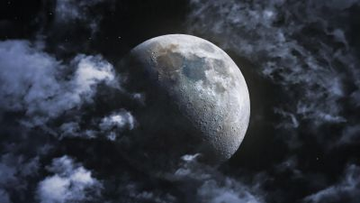 Moon, Clouds, Astrophotography, Night, Dark, Lunar craters, HDR