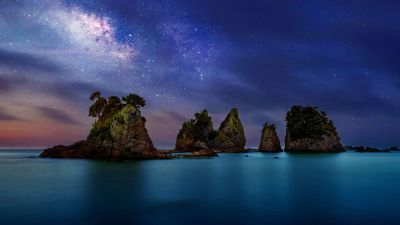 Minokake Rock, Milky Way, Dawn, Night, Sunset, Izu Peninsula, Shizuoka, Japan, 5K