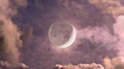 Moon, Clouds, HDR, Night, 5K, 8K, 9K