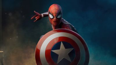 Spider-Man, Captain America's shield, Marvel Superheroes