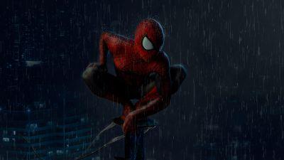 Spider-Man, Rain, Marvel Superheroes, Dark, Night