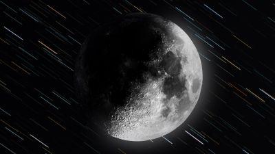 Moon, Monochrome, Dark background, Star Trails, 5K, 8K