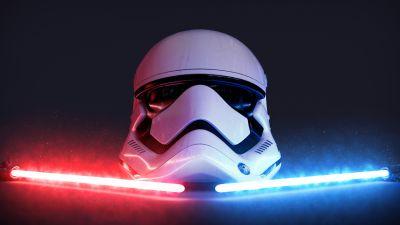 Stormtrooper, Lightsaber, Dark background, Glowing, CGI