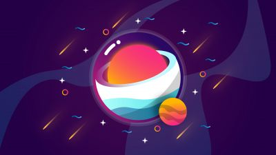 Galaxy, Solar system, Planets, Cosmos, Digital illustration, Colorful