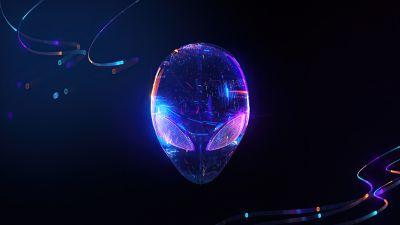 Alienware, Logo, Neon, Skull, Alien, Dark background