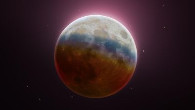 Lunar Eclipse, Astrophotography, Moon, Spectrum, Colorful, 5K, 8K, 9K