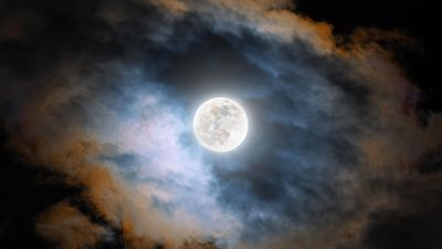 Cold Moon, Night, Clouds, Dark, Glowing, 5K, 8K, 12K