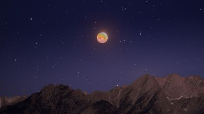 Lunar Eclipse, Mount Whitney, Mountains, Morning, Starry sky, Astrophotography
