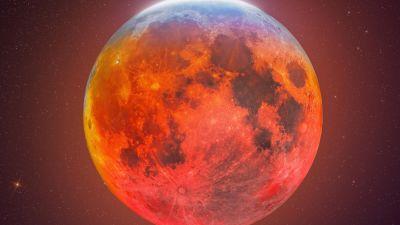 Blood Moon, Lunar Eclipse, Composition, 5K