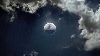 Moon, Clouds, Stars, 5K, 8K, 10K