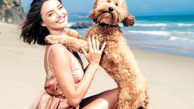 Miranda Kerr, Pet dog, Beach, Photoshoot