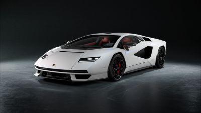 Lamborghini Countach LPI 800-4, Hybrid cars, Electric Sports cars, 2022, 5K, Dark background