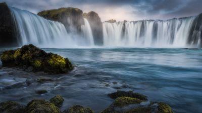 Godafoss waterfall, Iceland, Sunrise, Morning, Long exposure, 5K, 8K