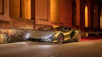 Lamborghini Sián FKP 37, Hybrid cars, Sports cars, 2021, 5K