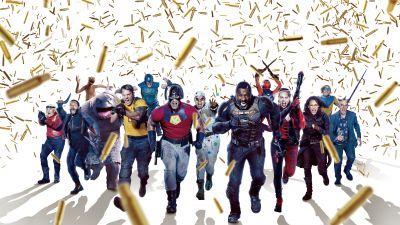The Suicide Squad, 2021 Movies, Sylvester Stallone, Pete Davidson, Idris Elba, John Cena, Joel Kinnaman, Jai Courtney, David Dastmalchian, Flula Borg, Margot Robbie, Mayling Ng, Harley Quinn, Bloodsport, Peacemaker, DC Comics, DC Superheroes, 5K