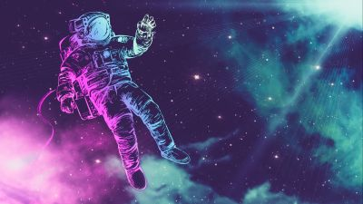 Astronaut, Space suit, Neon, Stars, Light, 5K