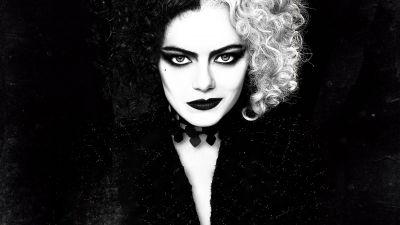 Cruella, Emma Stone, 2021 Movies, Black background, Monochrome