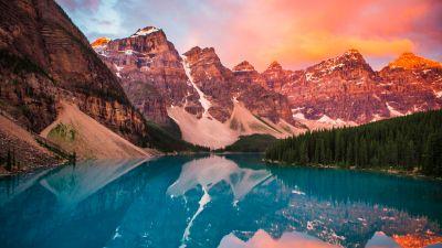 Moraine Lake, Rocky Mountains, Banff National Park, Landscape, Reflection, Scenery, Alberta, Canada, Sunset, Evening sky, 5K
