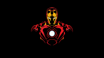 Iron Man, Marvel Superheroes, AMOLED, Pitch Black, Minimal art, Black background, 5K, 8K