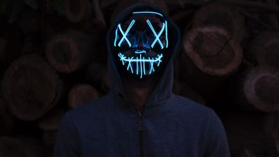Man, LED mask, Anonymous, Dark background