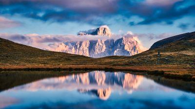 Lago delle Baste, Lake, Mountains, Landscape, Reflection, Italy, Clouds, Panorama, 5K