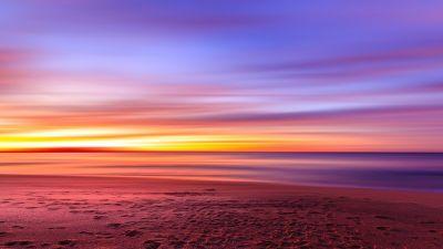 Seashore, Sunset, Beach, Long exposure, Dusk, Horizon, Landscape