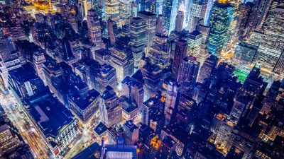 New York City, Aerial view, United States, Night City, City lights, Cityscape, Skyscrapers, 5K