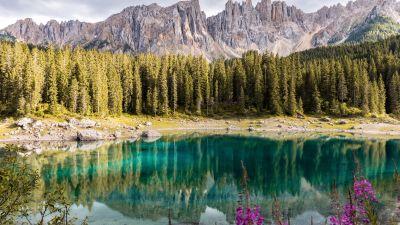 Lake Carezza, Italy, Mirror Lake, Mountain range, Landscape, Scenery, Pine trees, 5K