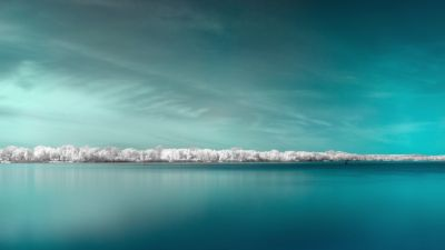 Infrared vision, Panorama, Surreal, Body of Water, Coast, Blue background, 5K, 8K
