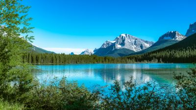Bow Lake, Canada, Snow covered, Mountains, Blue Sky, Reflection, Landscape, Scenery, Beautiful, 5K