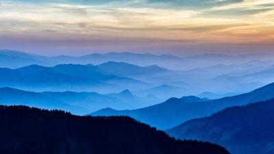 Silhouette Mountain, Foggy, Langtang National Park, Aerial view, Panoramic, Mountain range, Landscape, Sunset, 5K, 8K