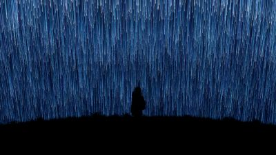 Alone, Lonely, Loneliness, Falling stars, Star Trails, Night, Silhouette, Girl