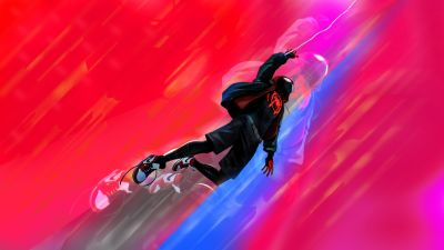 Miles Morales, Spider-Man, Marvel Comics, Marvel Cinematic Universe, Red background
