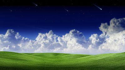 Landscape, Clouds, Falling stars, Blue Sky, Scenery, Green Grass, Starry sky, Summer, Scenic, Panorama, 5K, 8K