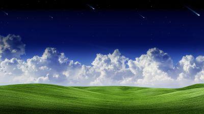 Landscape, Clouds, Green Grass, Starry sky, Falling stars, Blue Sky, Scenery, Summer, Scenic, Panorama, 5K, 8K