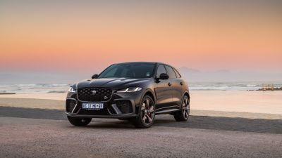 Jaguar F-Pace SVR, 2021, Beach, 2021, 5K, Sunset