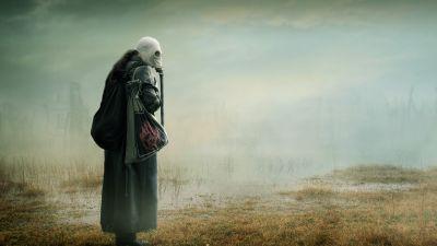 Gas mask Woman, Mist, Wasteland, Toxic, Environmental, Future, 5K