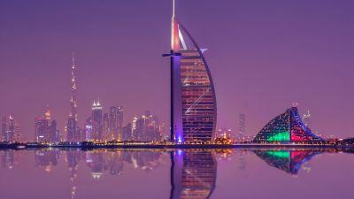 Burj Al Arab, Luxury Hotel, Cityscape, Low Angle Photography, Night lights, Waterfront, Reflection, Purple sky, Skyscrapers, 5K