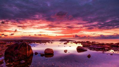 Seashore, Rocky coast, Cloudy Sky, Dusk, Horizon, Ocean, Landscape, Scenery, 5K, 8K