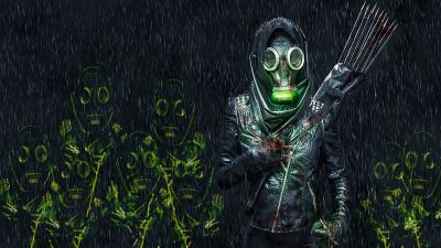 Person in Mask, Fighter, Scary, Rain, Blood, Manipulation, Anonymous, 5K