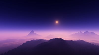 Moon light, Foggy, Night time, Aerial view, Landscape